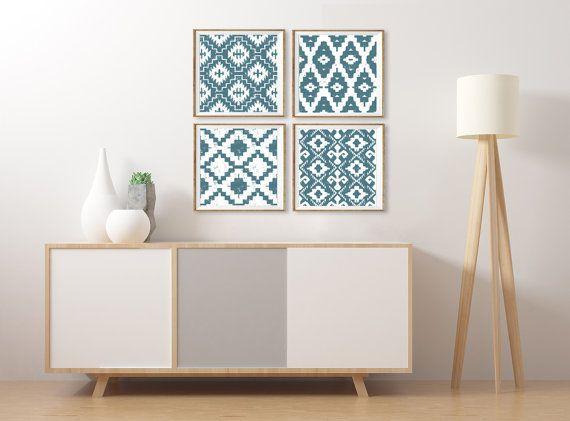 Ikat Wall Art Southwestern Artwork Set of 4 Square Prints