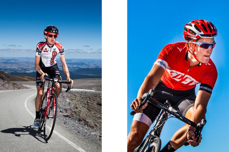 Left: Michael Torkler near the summit of Mt. Ruapehu, New Zealand. Right: Sam Shaw, one of New Zealand's top XC mountain bikers showing he knows his way around on a road bike.