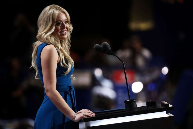 Meet the Trumps: America's new first family:      Daughter of Donald Trump, Tiffany Trump, delivers a speech on the second day of the Republican National Convention on July 19, 2016 at the Quicken Loans Arena in Cleveland, Ohio.