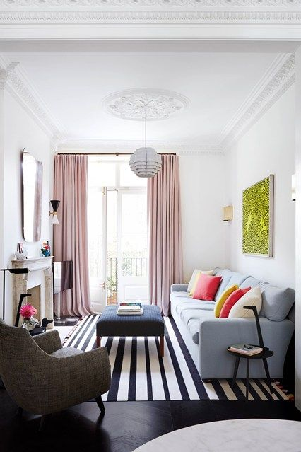 Narrow London Living Room - Small Living Rooms (houseandgarden.co.uk)