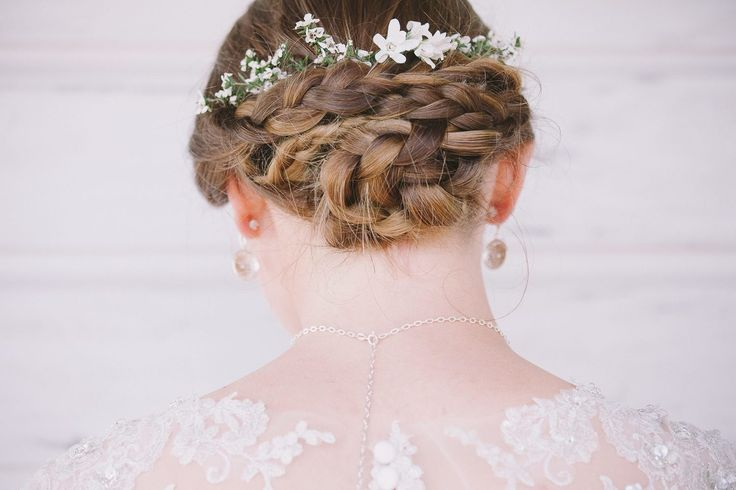 Hair on Waiheke by Jules. Wedding Hair Styling. Lovely braid and lace.