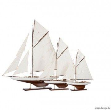 "J-Line Klassieke witte houten zeilboot boot met witte zeilen in paulownia hout 110H <span style=""font-size: 0.01pt;"">Jline-by-Jolipa-60106-antieke-stijl-dekoratie-online-shop-online</span>"