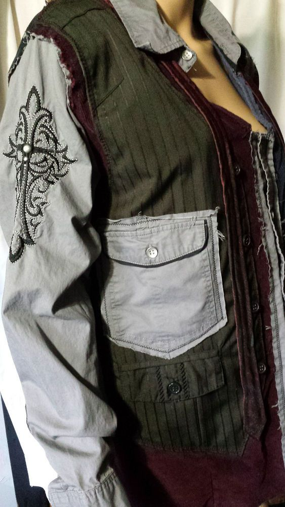 Ooak After Hours Tie Vest Grunge Distressed Patchwork Cargo Jacket Mens Sz L #Handmade #JeanJacket
