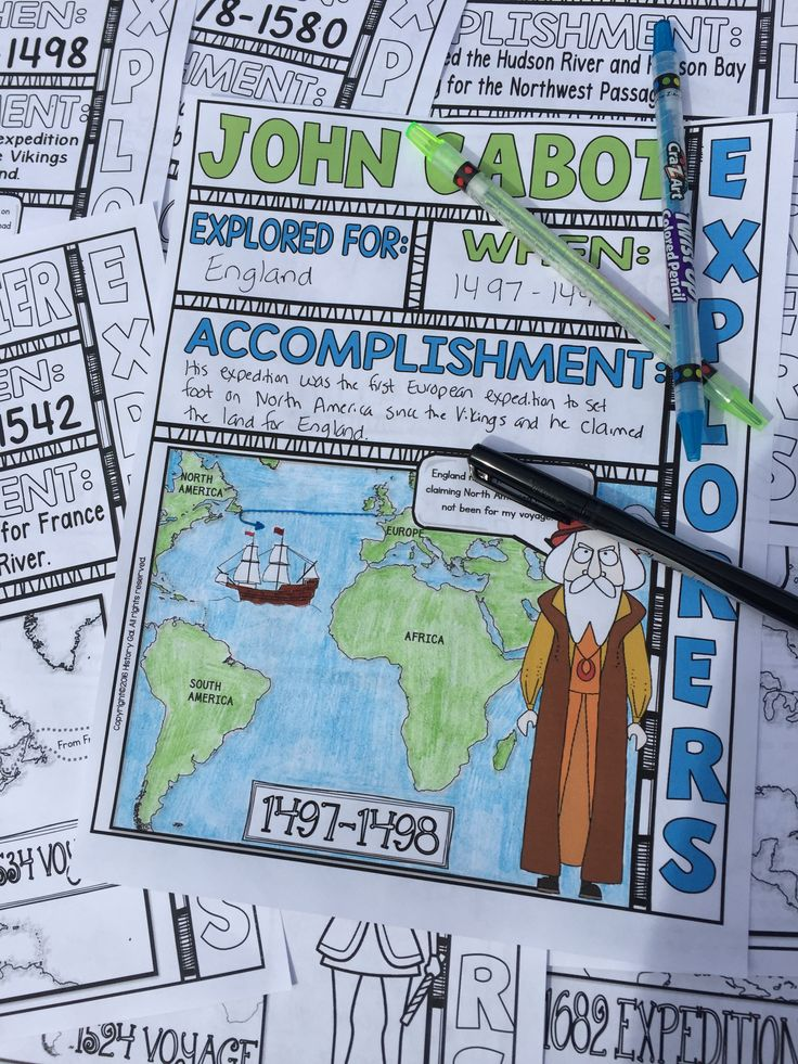 Engage students with these English, French, and Dutch Explorer doodle notes. These fun doodle notes cover the following 8 explorers: John Cabot, Francis Drake, James Cook, Henry Hudson, Giovanni da Verrazzano, Jacques Cartier, Samuel de Champlain, and Robert la Salle. $ Great to use in your 4th, 5th, 6th, 7th, 8th, 9th, 10th, or 11th grade classroom or homeschool!
