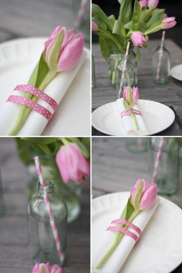 tischdeko mit tulpen servietten falten rosa tulpe