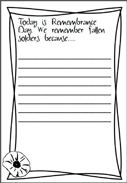 Mrs Poultney's Ponderings: Today is ANZAC Day. We remember fallen solders because.... writing prompt freebie.