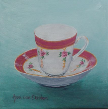 acrylic - teacup with red band