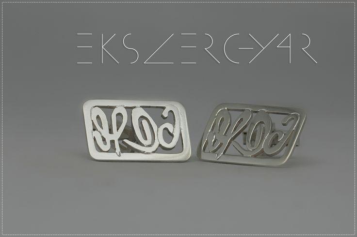 Aláírás mandzsetta. 925-ös ezüst.  www.ekszergyar.hu/signatureproject