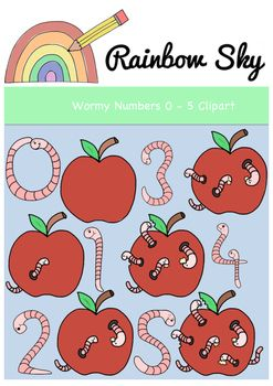 Worms Worms Worms!  Teaching numbers 0 - 5? Mini beasts theme?  Here are some cute wormy numbers. Perfect to use in creating your own worksheets or activity cards.   With a total of 12 pieces in the set it includes: •Number 0 - 5 shaped as worms •Apples withs 0 - 5 worms  All .PNG files saved at 300 dpi for clear printing, with transparent backgrounds. For personal or commercial use ~ Rainbow Sky Creations ~