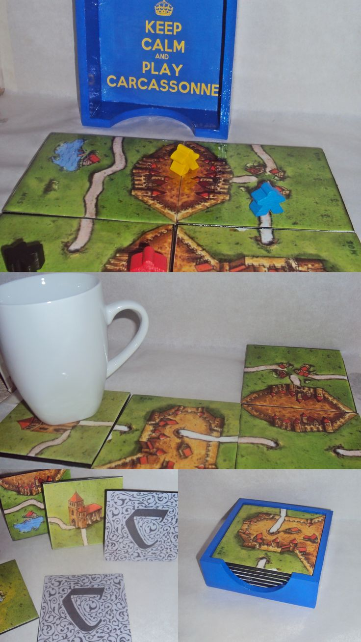 Handmade carcassonne tile coasters and case, with decoupage on wooden coasters! Ready to play!