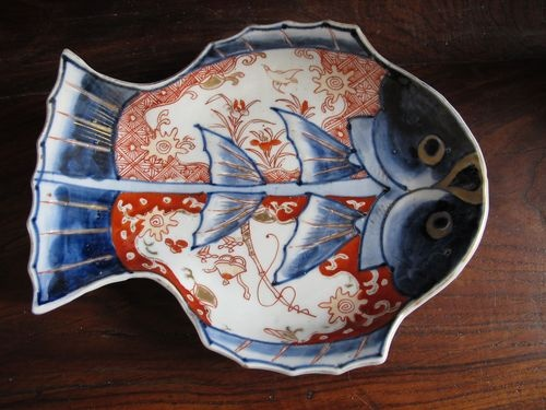 ANTIQUE c1900 JAPANESE IMARI FISH PLATE
