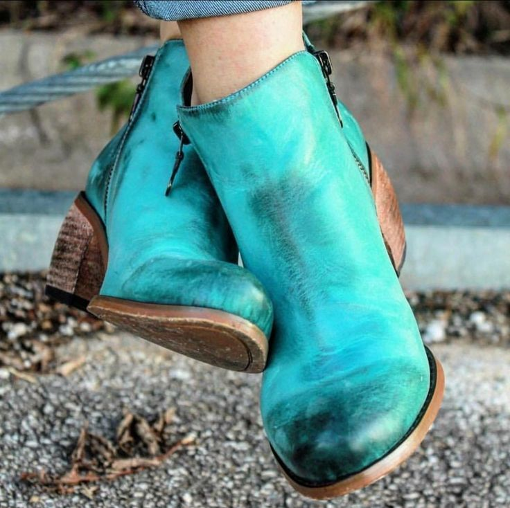 L&B Distressed Turquoise Boots