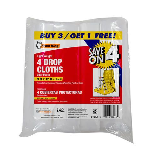frost king 9u0027 x 12u0027 x 8 mil clear plastic drop cloth