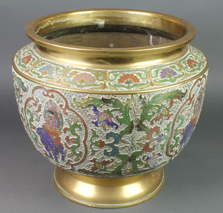 "Lot 318, A large and impressive 19th Century Chinese gilt, bronze and enamelled jardiniere, decorated figures, raised on a circular base 14 1/2""h (hole to base), sold for £180"