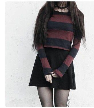 sweater burgundy black stripes goth grunge girly winter outfits pink pastel grunge