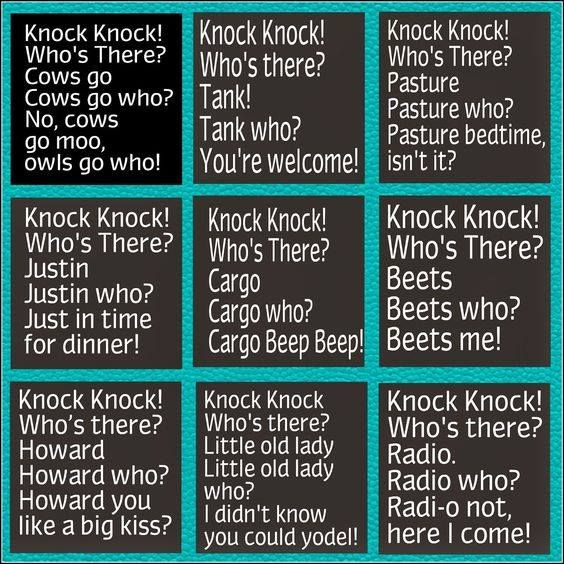 Funny knock knock jokes for kids :)                              …                                                                                                                                                     More