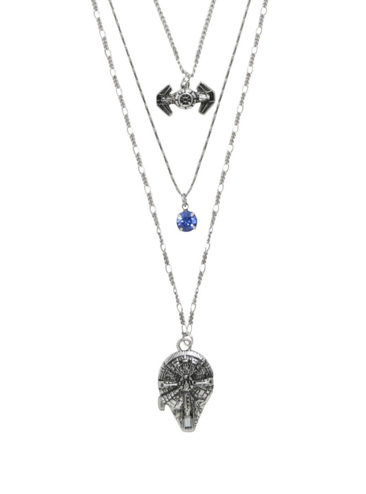 Star Wars Millennium Falcon & TIE Fighter long layered necklace jewelry at Hot Topic ⭐️ Star Wars fashion ⭐️ Geek Fashion ⭐️ Star Wars Style ⭐️ Geek Chic ⭐️