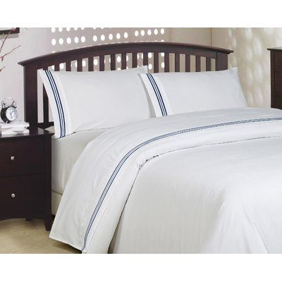 Cathay Home, Inc Soft Brushed 3-Line Embroidery Bed Sheet Set Color: