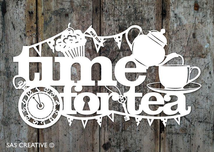 Papercut Template PDF 'Time for Tea' Printable Cut by SASCreative