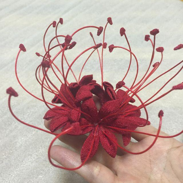 赤い 曼珠沙華 彼岸花の つまみ細工