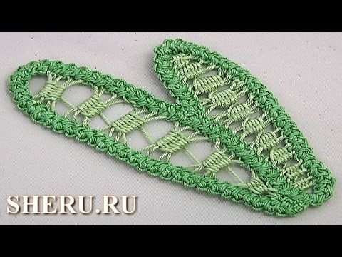 Leaf in Romanian Point Lace Урок 76 Листик в румынской технике - YouTube
