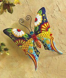 I absolutely love metal butterfly wall art. It is great for gardens, patios and even  indoors in bathrooms, kitchens and hallways.  Additionally, you can use butterfly home wall art décor in your  bedroom. Overall this is beautiful,  color and ever so cute #butterflies #wallart #homedecor      Stylish Metal Wall Art - Sturdy Metal Construction with Butterfly Dragonfly or Gecko Motive for Garden or House Wall - Painted Colorful Decoration, Easy to Hang Up Perfect Gift (Butterfly