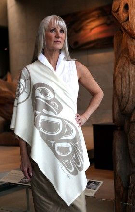 "Spirit Button Wrap in ""Cream"" by Chloë Angus Design (""Eagle Moon"" by Clarence Mills, Haida)"