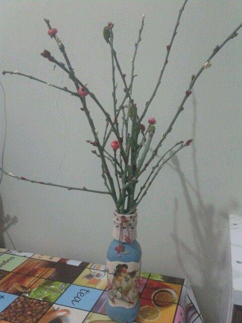 Yag sisesinden vazo (diy paint)