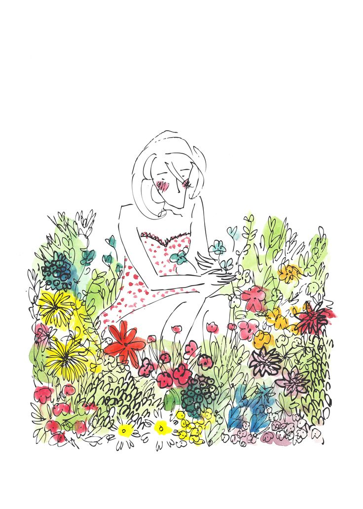 Picking Flowers Illustration By Louise Warwick