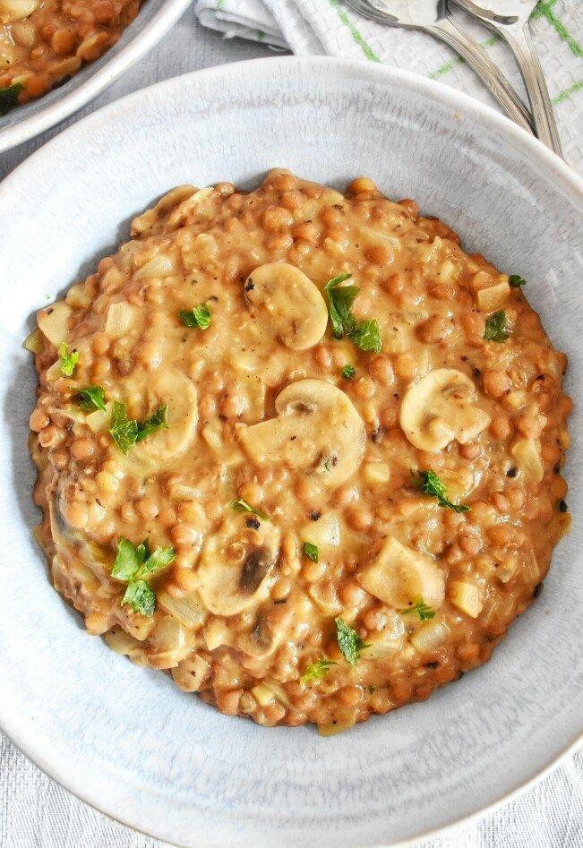 Lentejas Estofadas Con Champinones Comida Vegetariana Recetas Lentejas Estofadas Recetas Vegetarianas