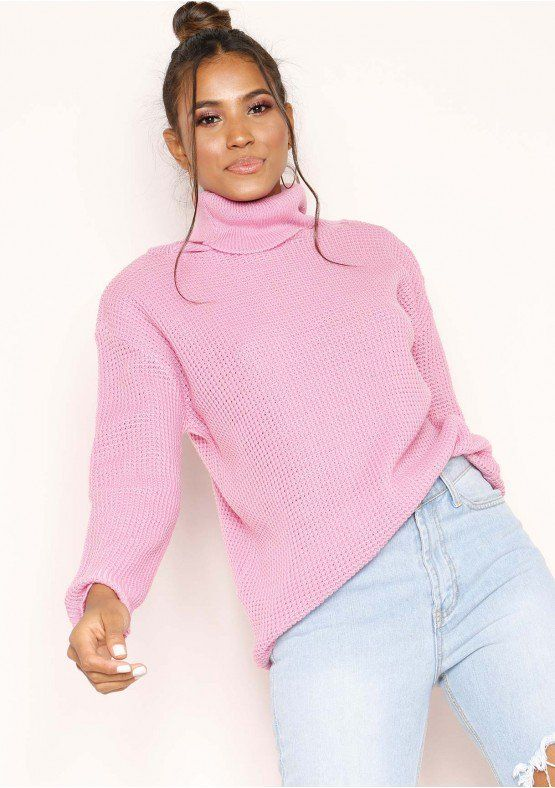 84e997a672 Harper Candy Pink Knit Oversized Jumper Missy Empire