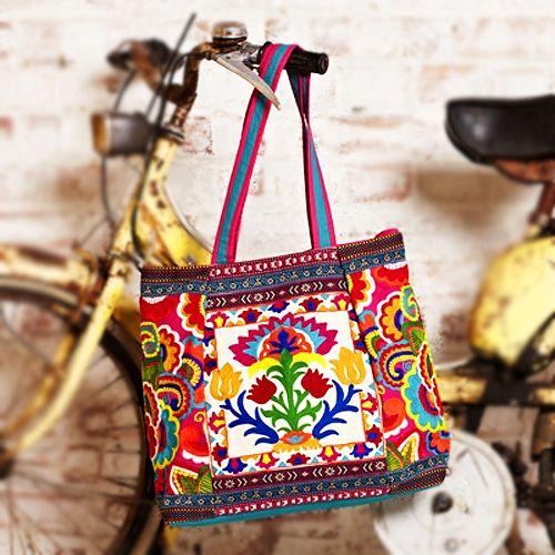 Folk flower tote motif couleur