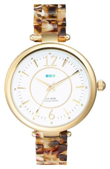 La Mer Collections 'Sicily' Patterned Acetate Bracelet Watch, 38mm available at #Nordstrom