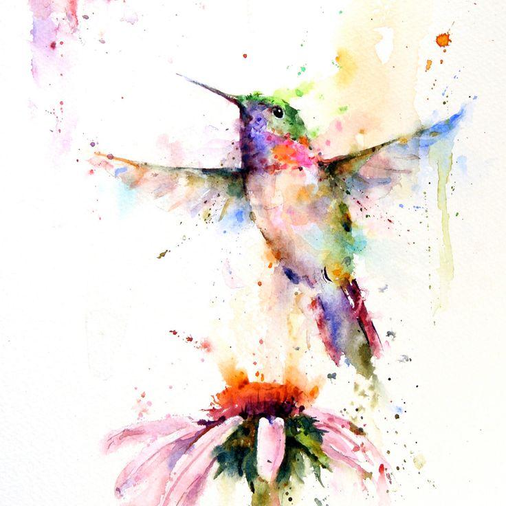 HUMMINGBIRD Watercolor Print by Dean Crouser. $45.00, via Etsy.
