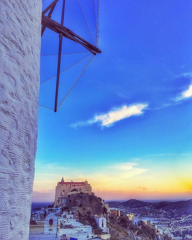 Syros island (Σύρος) Stunning view from Ano Syros village with wonderful colors of The sunset !!