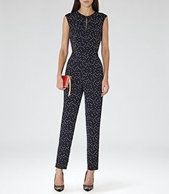 Womens Night Navy Polka-dot Jumpsuit - Reiss Liora