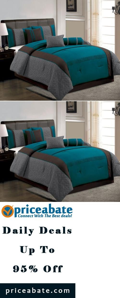 #Priceabate 7-Piece Queen Size Comforter Set Modern Blue, Brown, Gray Bed-In-A-Bag - Buy This Item Now For Only: $54.99
