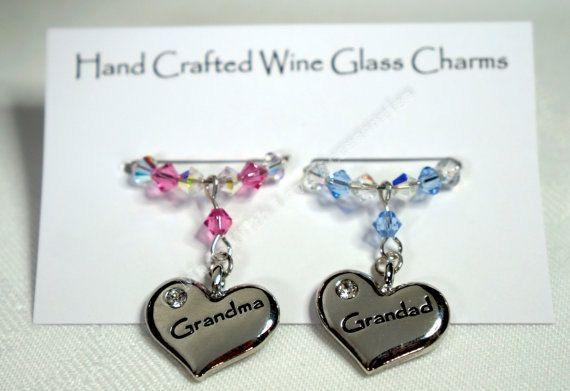 Wine Glass Charms - Grandma & Grandad Wine Glass Charms  - Swarovski Crystal, Christmas Gift, Stocking Fillers, Anniversary Gift