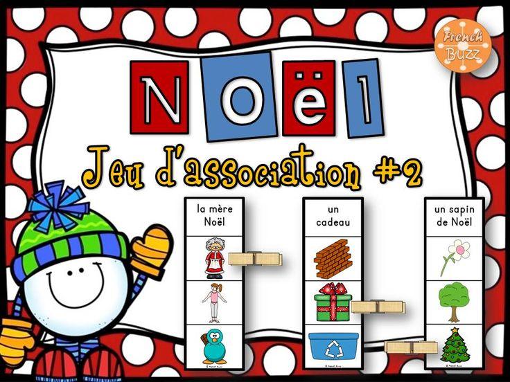 Noël - jeu d'association #2. Les élèves lisent le mot en haut de la carte et choisissent l'image qui correspond avec une pince à linges. Un total de 40 cartes!