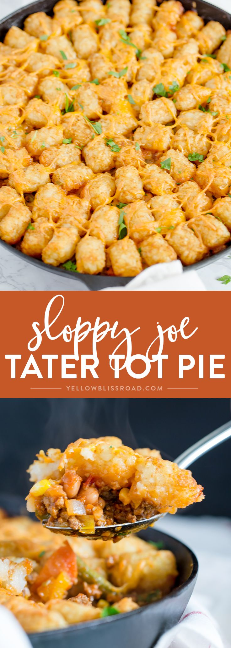 Sloppy Joe Tater Tot Pie is an easy one pan weeknight meal full of beef, veggies and a bold Manwich sauce, with a crispy tater tot crust.