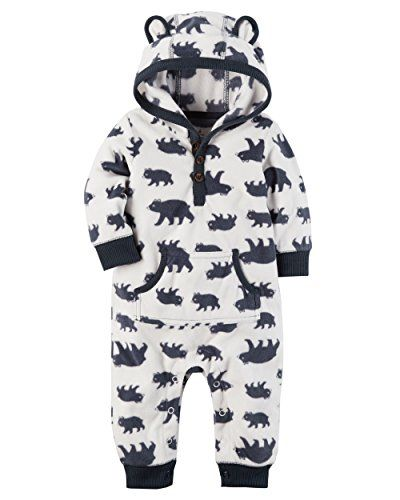 Carter's Baby Boys Fleece Hooded Romper Jumpsuit White Bear Newborn