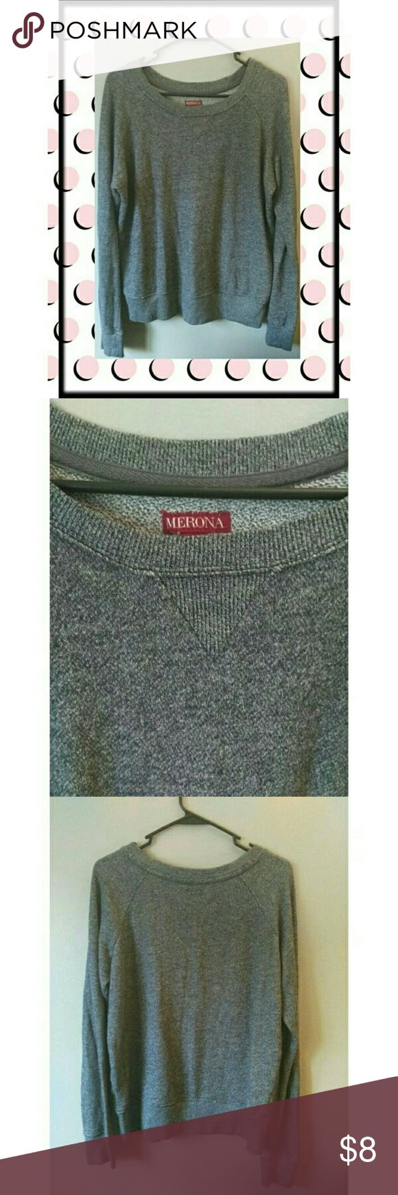 "Women's Merona Sweatshirt Cute and cozy Merona sweatshirt in just like new condition. Perfect for fall and layering or wrapping around your waist in the newest trend. This sweatshirt is also a dressy enough neutral foundation for work. Cotton/poly, machine wash/dry, bust 26"", shoulder seam to hem 26"". Merona Tops Sweatshirts & Hoodies"