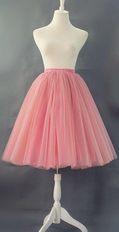 Prachtige tule rok - koraal roze