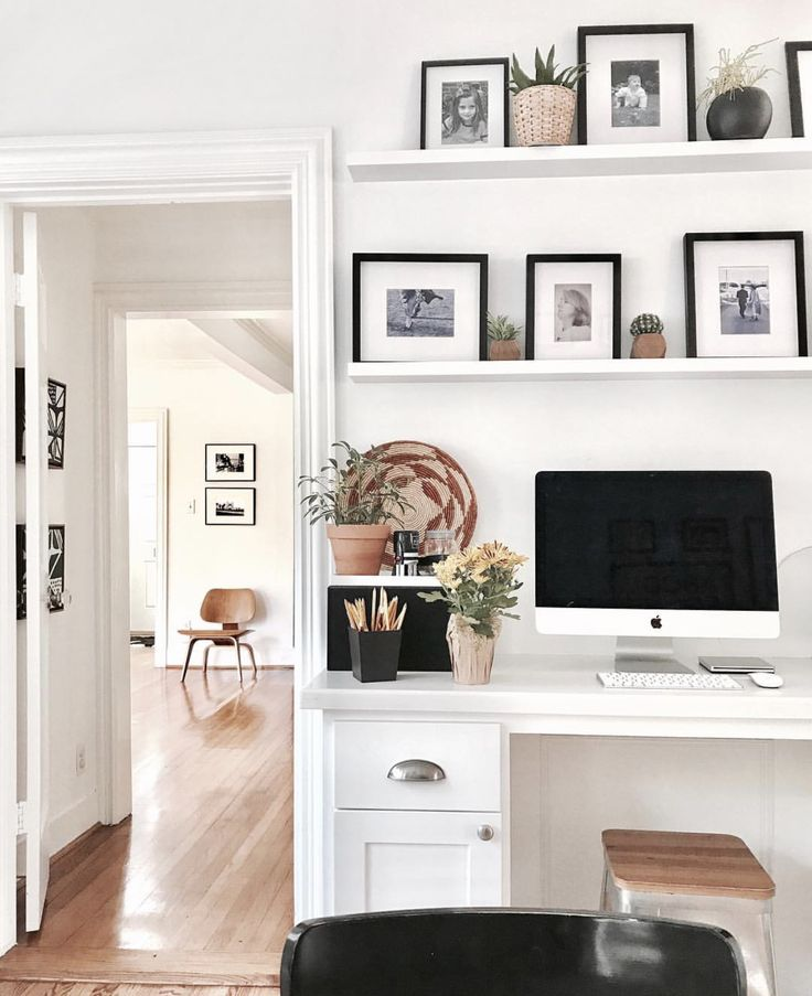 Small, white & bright office #modernboho