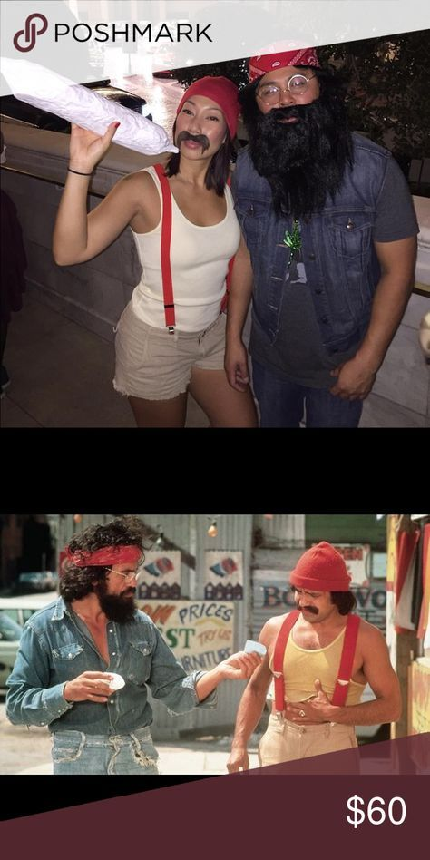 Cheech & Chong Halloween Costumes We loved these costumes and got SO many compliments on them.  It took us forever & many stores to put everything together. Save yourself time, purchase these all ready to go! Cheech comes with Old Navy size M yellow cotton tank, Size M cutoff cargo shorts, red suspenders, red beanie & assorted unused mustaches. Chong comes with a size XL denim vest, marijuana necklace, beard, wig, plastic glasses, red bandana.  My hubs wore it. He's a men's side medium…
