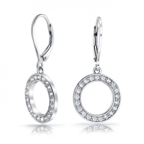 Pave CZ Open Circle 925 Sterling Silver Leverback Dangle Earrings