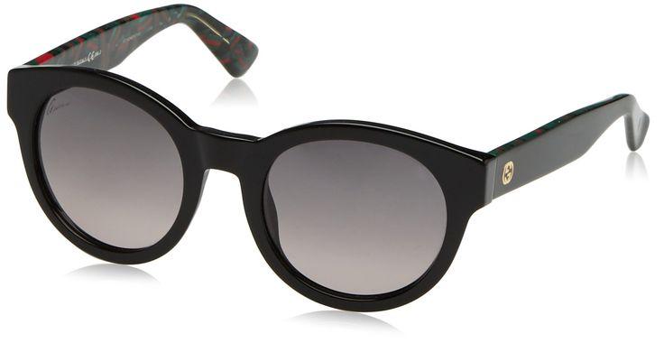 Gucci Designer Sunglasses, Black/Green Red, 51-22-140. 100% Authentic.