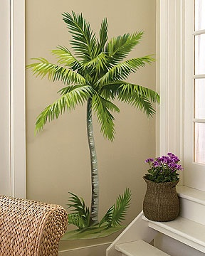 Palm tree wall mural is easy to apply and remove, and what a fun piece for the wall!  $39 at HomeandGardenArt.com