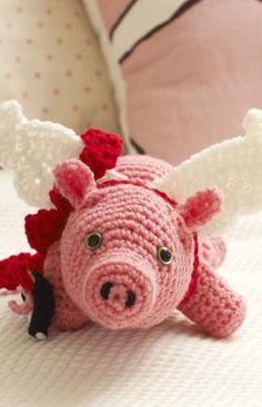 #crochet, free pattern flying pig, amigurumi, #haken, gratis patroon vliegend varken (engels), tutorial