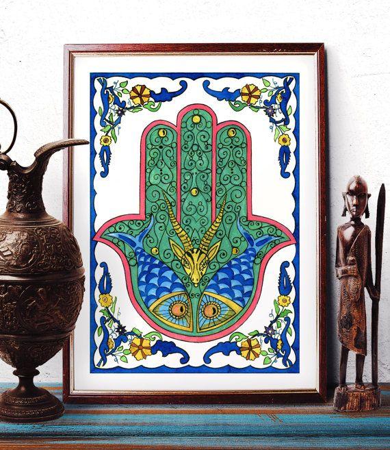 Hamsa Hand Watercolor Print Hand of Fatima Home by HermesArts